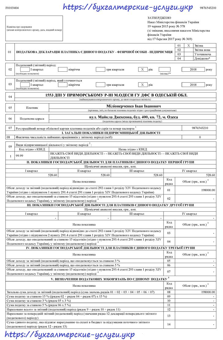 пример заполнения отчета по единому налогу 1 группа 1